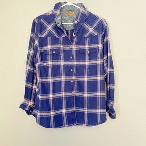 JACHS GIRLFRIEND Plaid Snap Button Down SZ M